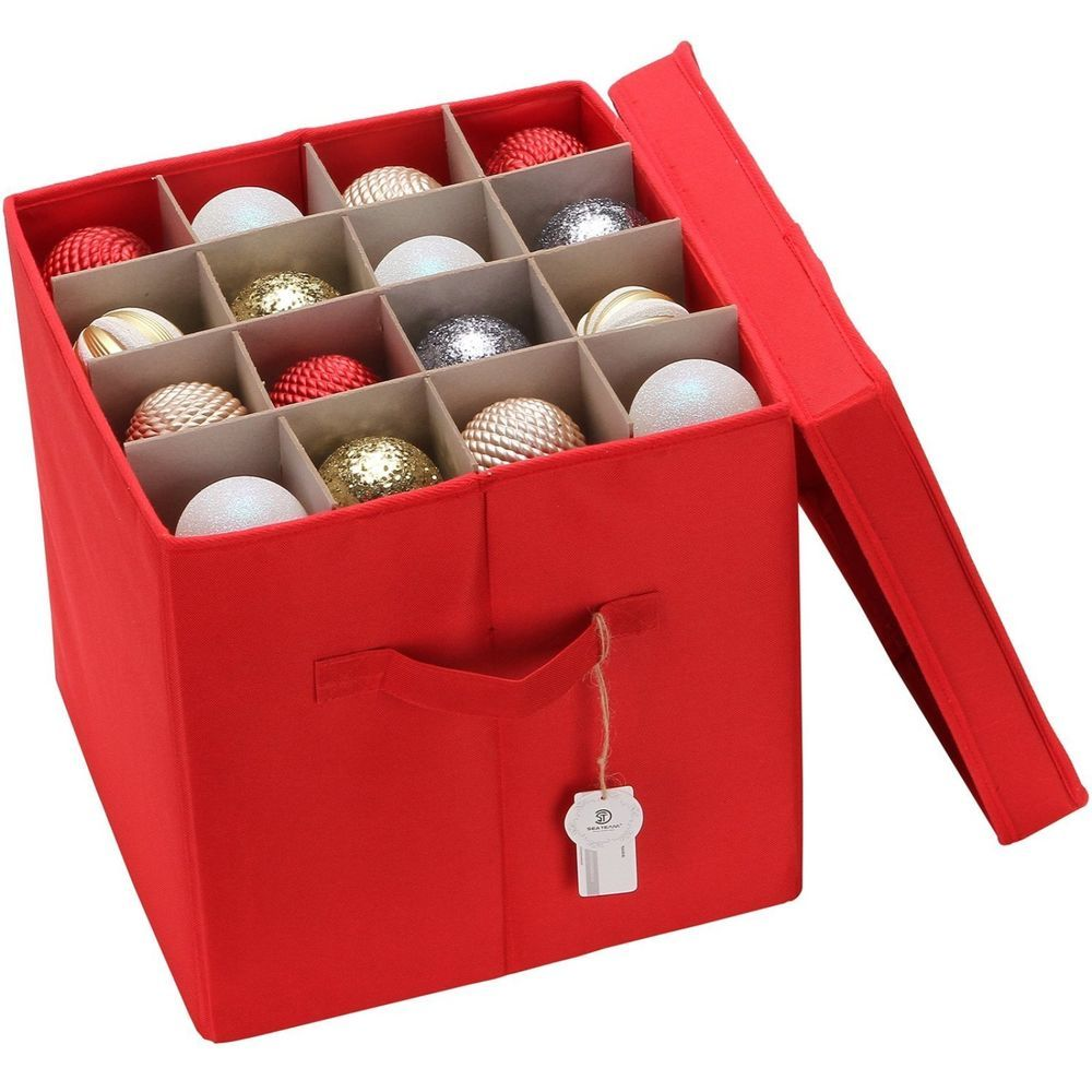 Ornaments Storage Box Fits 64 Christmas Balls 4 Layers Red ...