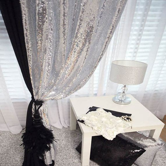 Silver Sequins Sparkly Single Curtain Drapery Panel Decor Curtains Panel Room Divider