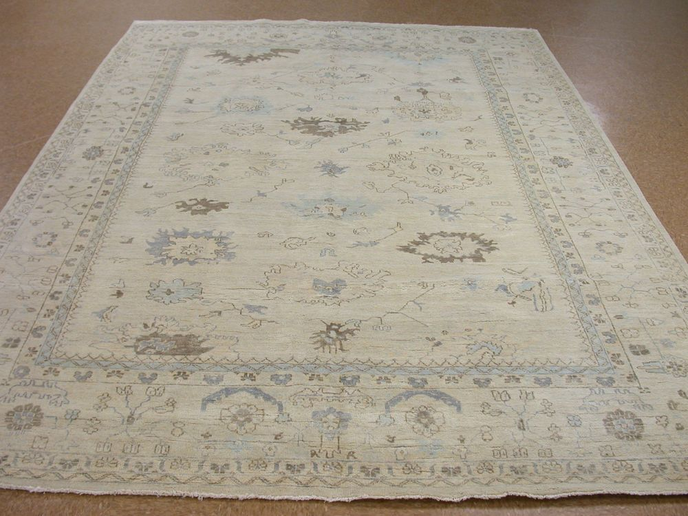 10 X 14 OUSHAK Style Hand Knotted Soft Wool IVORY NEW Oriental Rug Carpet