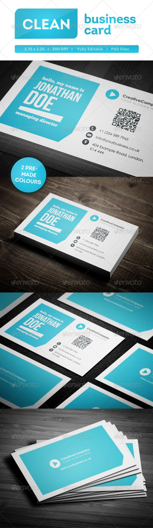 Clean business card business cards business and google maps icon clean business card psd templatesbusiness reheart Gallery