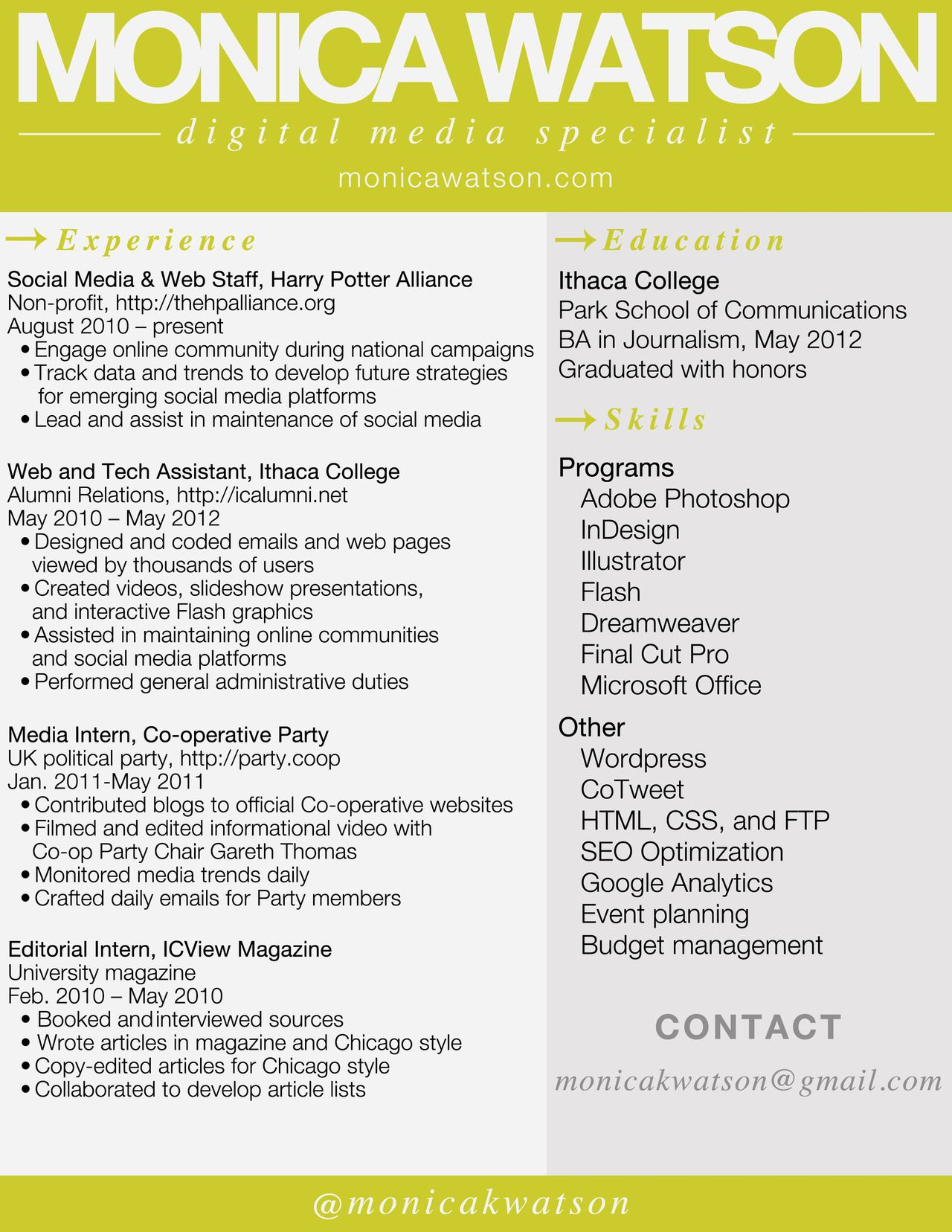 Resume Digital Media  Resume Social Media