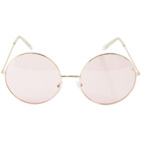 a3f25d496 Rose Gold Pink Lens Round Sunglasses Hot Topic ❤ liked on Polyvore  featuring accessories, eyewear, sunglasses, pink sunglasses, metal frame  sunglasses, ...