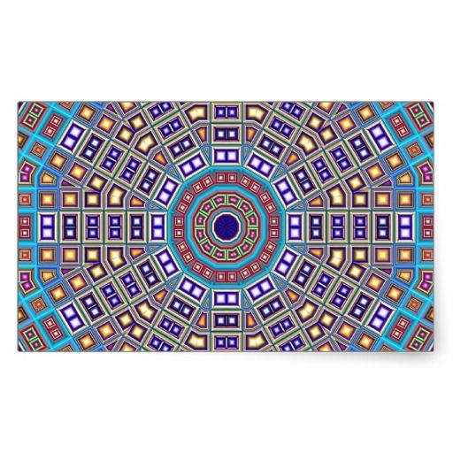 Moroccan Mosaic Kaleidoscope Rectangular Sticker
