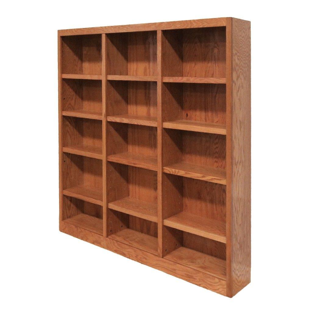15 Shelf Triple Wide Wood Bookcase 72 Inch Tall Oak Finish Concepts In Wood Mi7272 D Wood Bookcase Bookcase Bookcase Storage