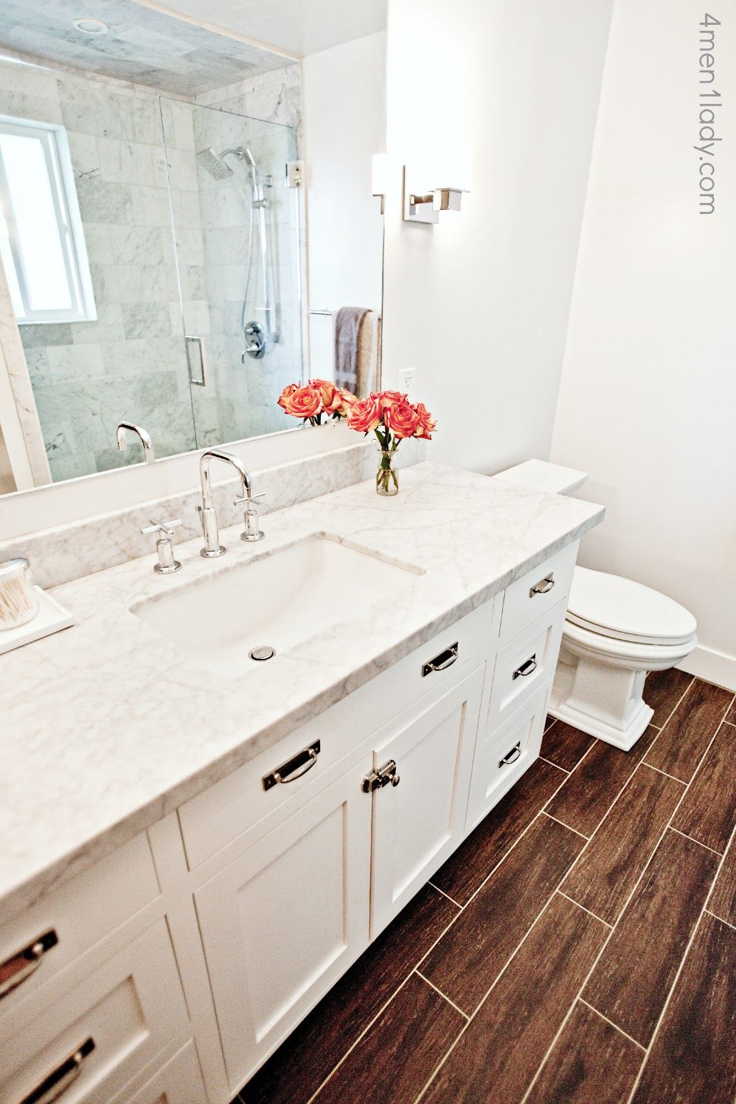Carrara Marble Bathroom Countertop With Mitered Edge Detail And Rectangle Sink Porcelain Tile