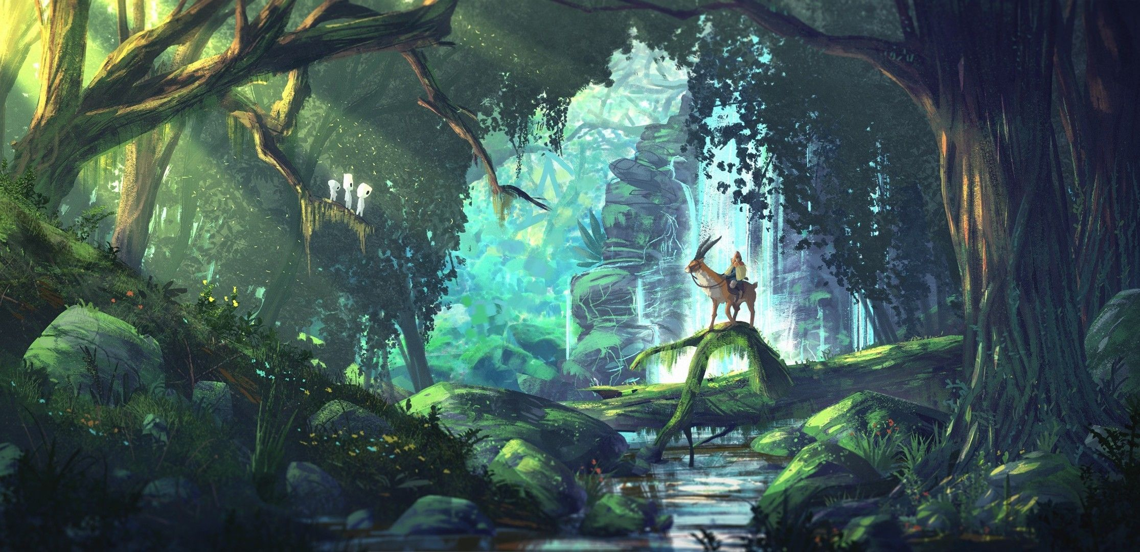 2230x1080 fantasy Art, Anime, Forest, Princess Mononoke
