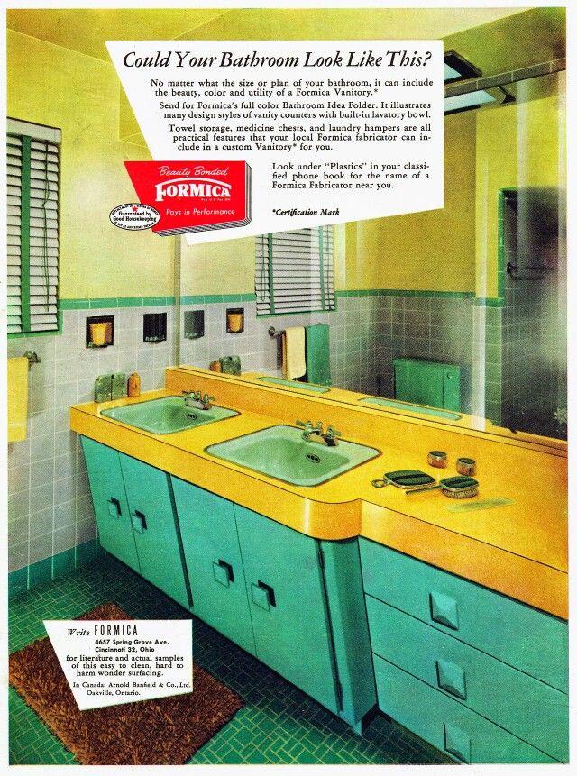 salle de bain d\'intérieur les années 60 70 | décoration ...