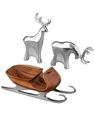 Nambe Figurines, Christmas Sleigh with Reindeer