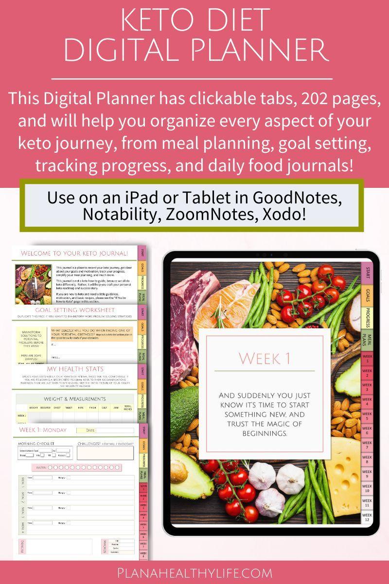 Keto Diet Digital Planner for GoodNotes 12 Week Journal
