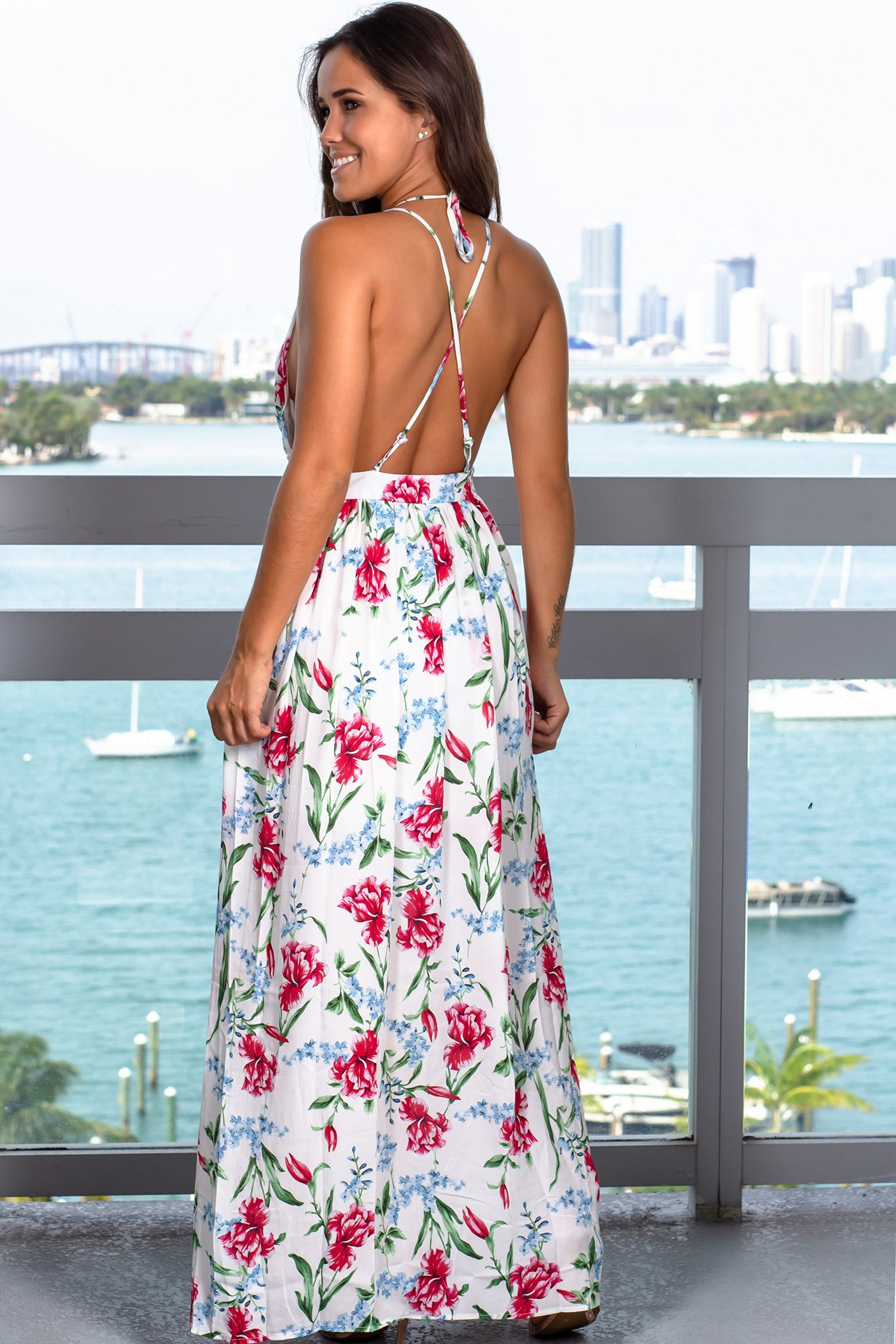 c85c7631b3e Off White Floral Maxi Dress with Criss Cross Back w 2019 | Sukienki ...