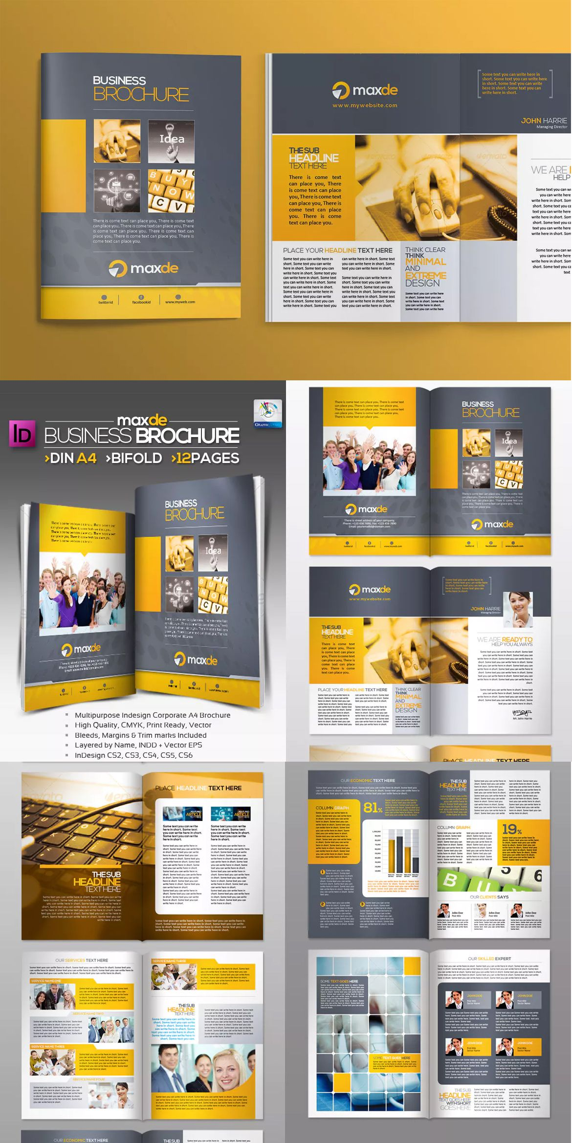Bifold Clean Brochure Template InDesign INDD A4