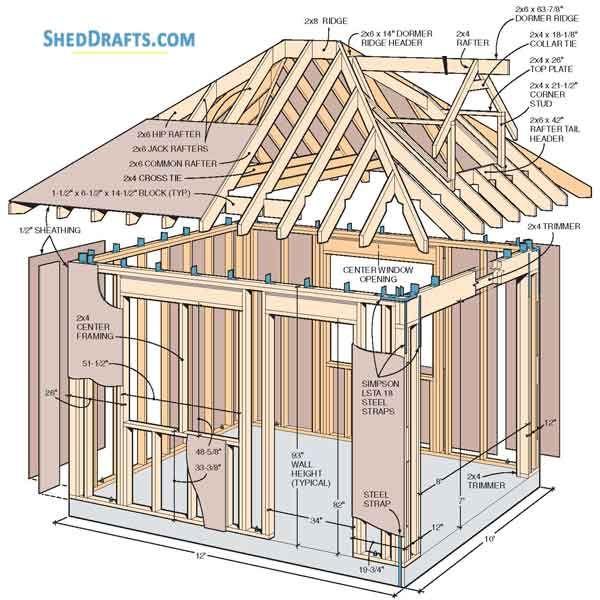 10×12 Hip Roof Storage Shed Dormer Plans Blueprints To