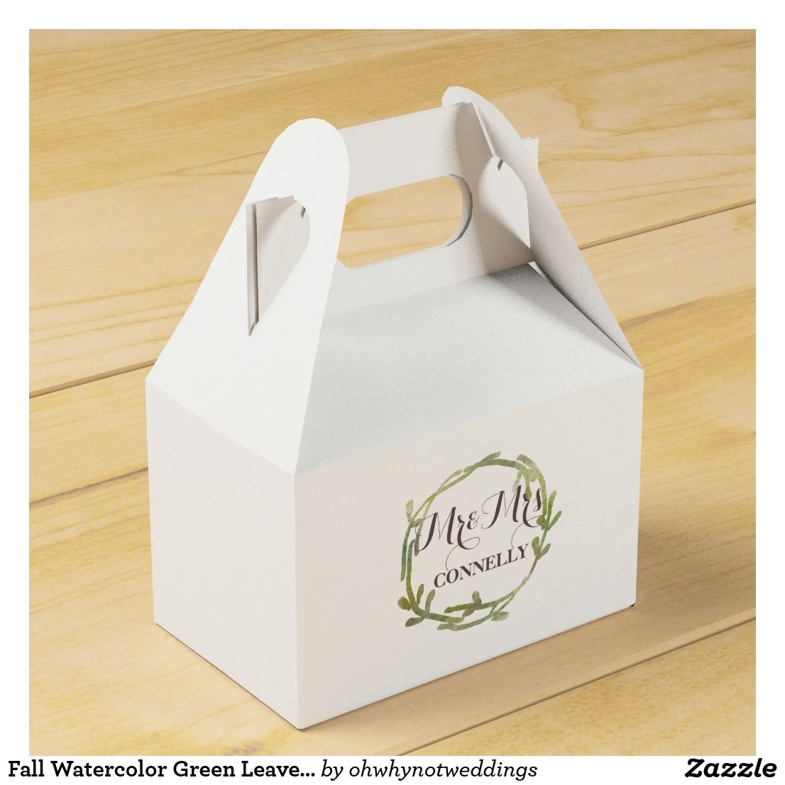 Fall Watercolor Green Leaves Wedding Favor Box | Favors and Weddings