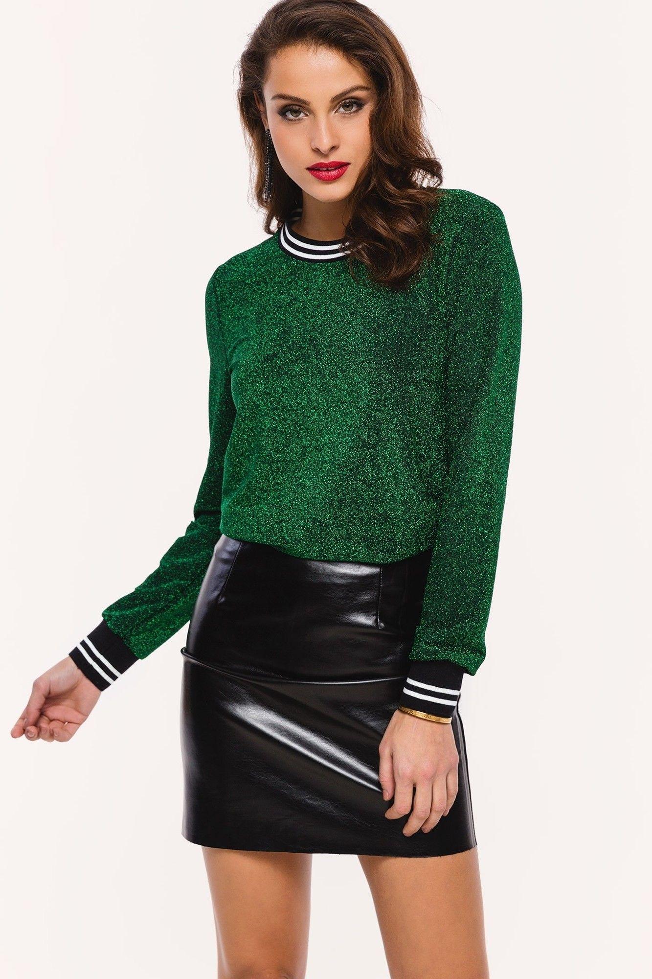Zwarte Trui Met Leer.Loavies Groene Glitter Trui Fashion Webshop Loavies Fall