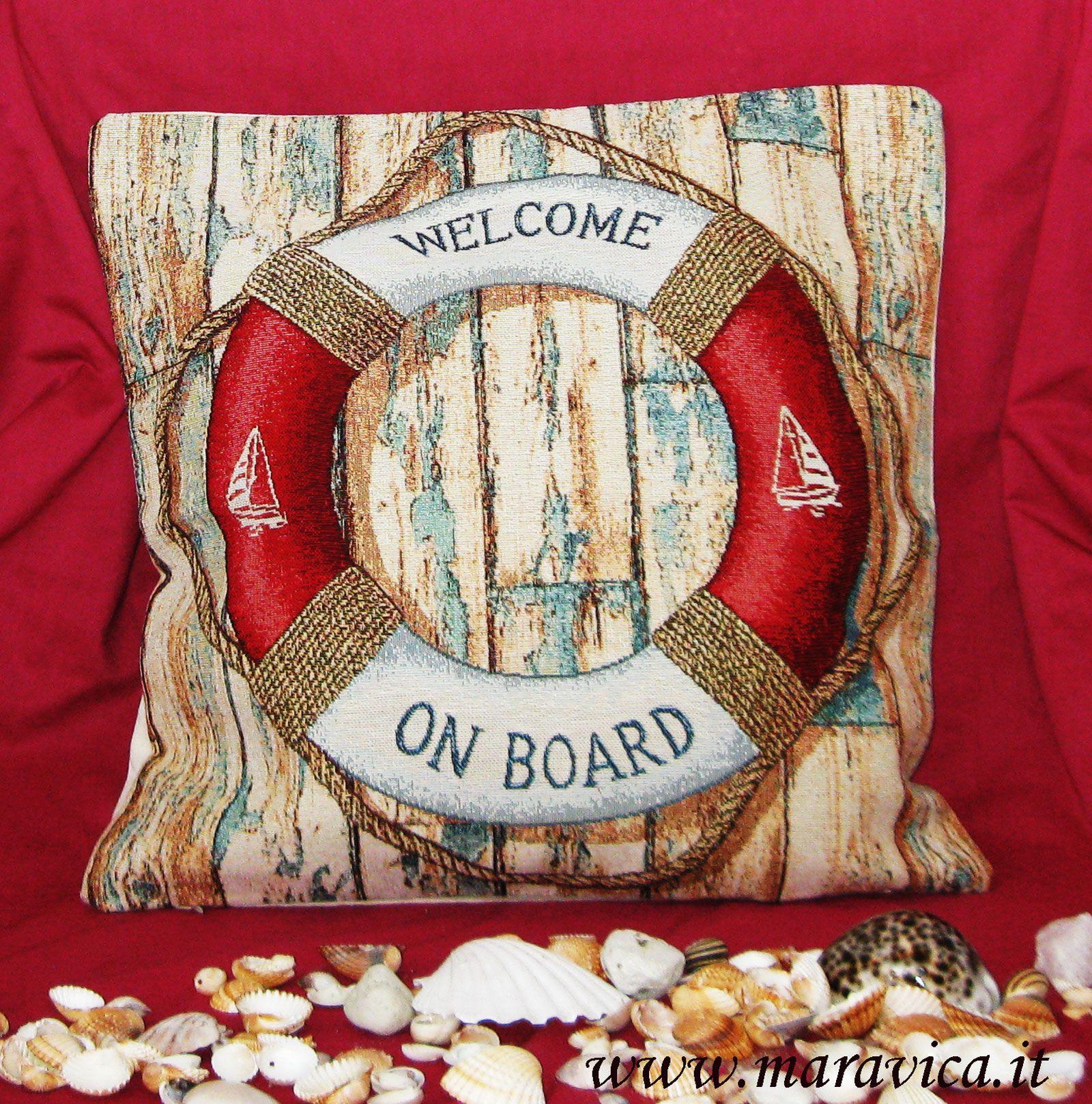 Cuscino arredo cm 40x40 stile marinaro Salvagente Tessuto gobelin e cotone