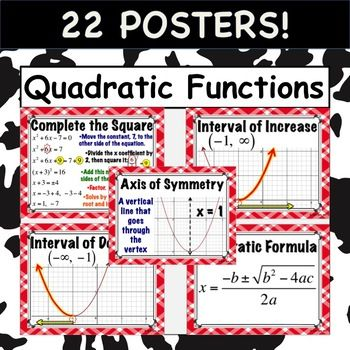 Quadratic Functions Posters Standard Form Algebra And Activities