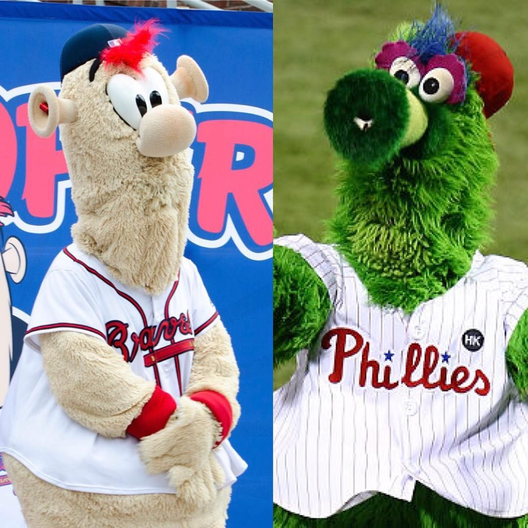 Braves New Mascot Blooper Left Phillies Mascot Phillie Phanatic Right Braves Phillies Bloopers