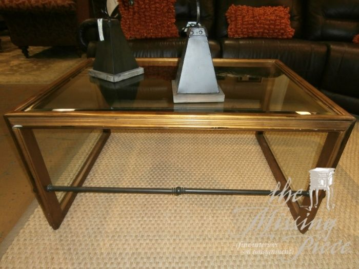 Gold And Framed Gl Coffee Table With Sides Top Decorative Bar