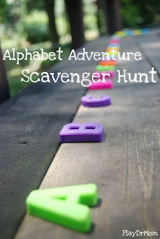challenge kids to go on an alphabet adventure hunt ... inspired by Audrey & Bruce Wood's book Alphabet Adventure
