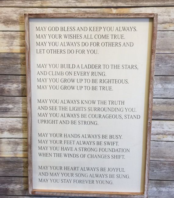 May You Stay Forever Young 24x36 Custom Handcrafted Wood Sign