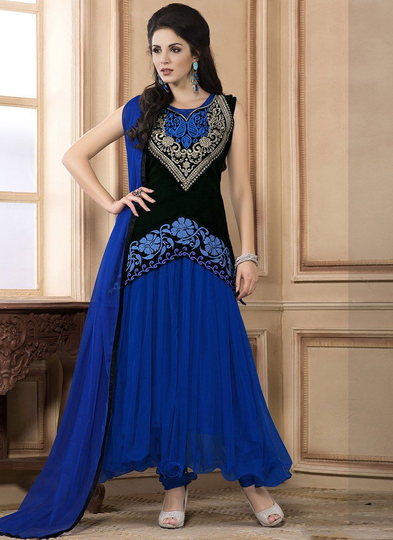 0c6a79f61d This Black | Blue colored anarkali-suit in Net fabric goes well with any  occasion. Shop online Designer ...