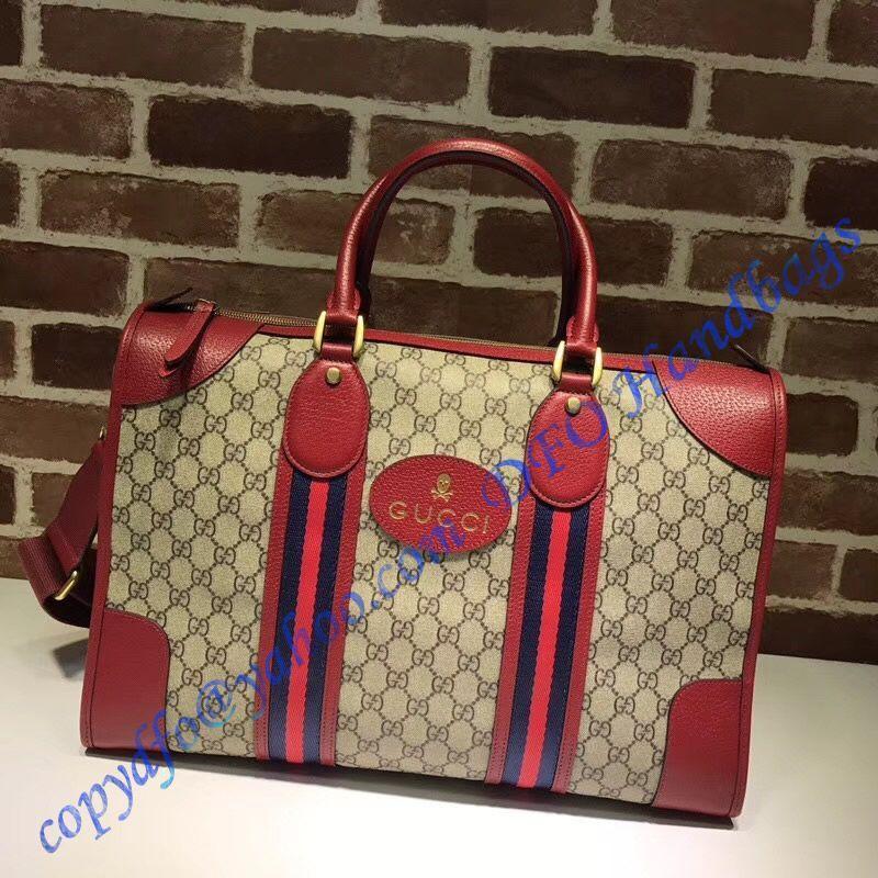 daa8625f03f1 Gucci Soft GG Supreme duffle bag with Web and red leather trim  #guccibostonbagsale
