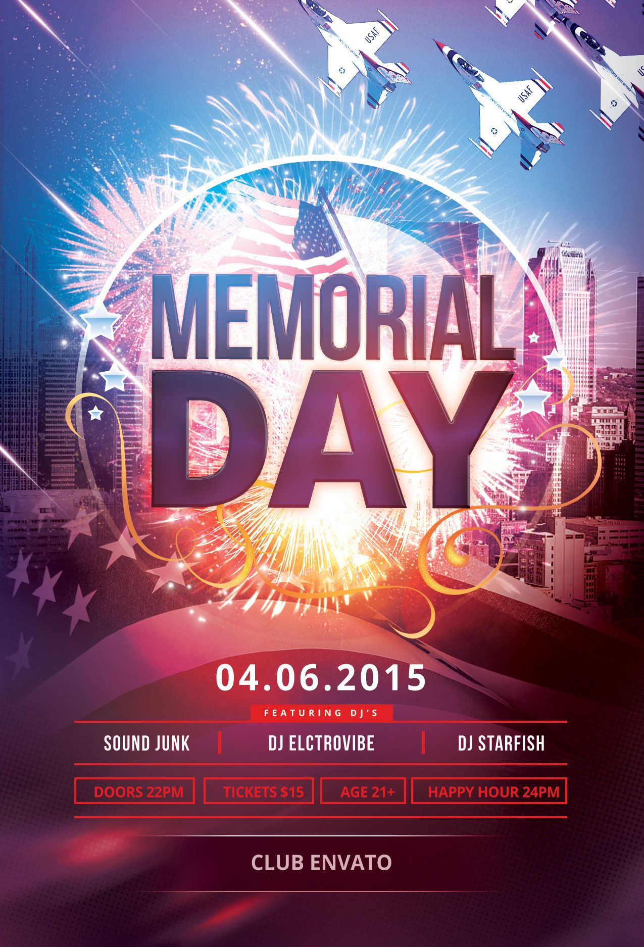 memorial day flyer template download psd file 6 party poster