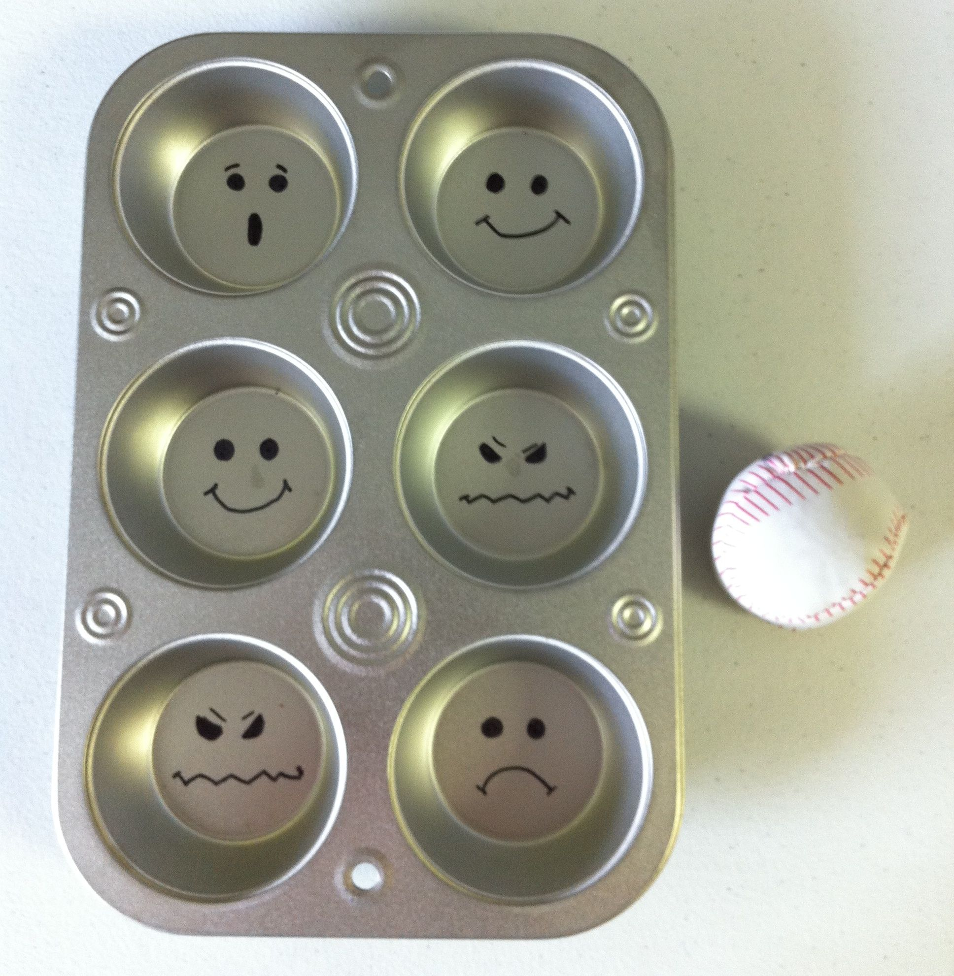 Muffin Tin Feelings Toss. Draw Faces With