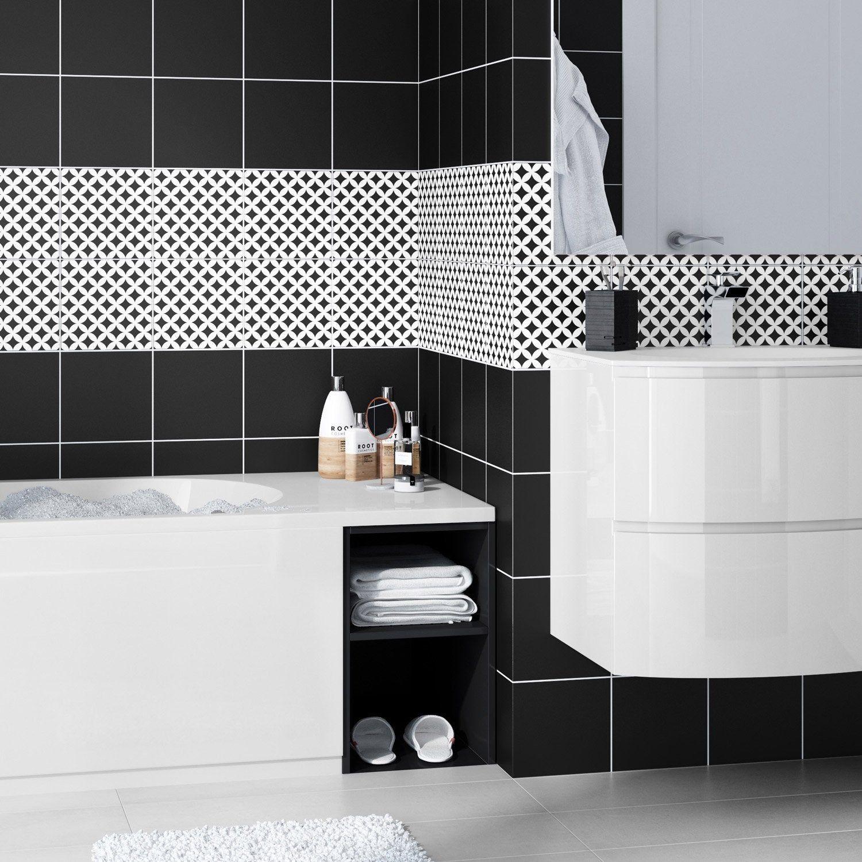 Frise Murale Damier Noir Et Blanc carrelage mur noir-noir n°0 mat l.20 x l.20 cm, astuce