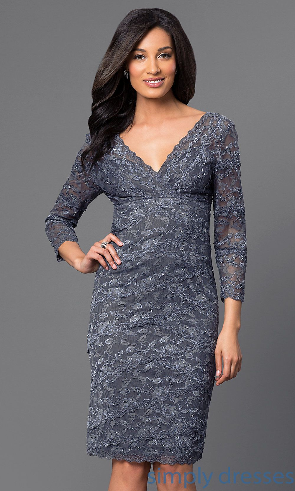 Short sleeve dresses for wedding guests  JUMA  ThreeQuarterSleeve VNeck KneeLength Lace Dress