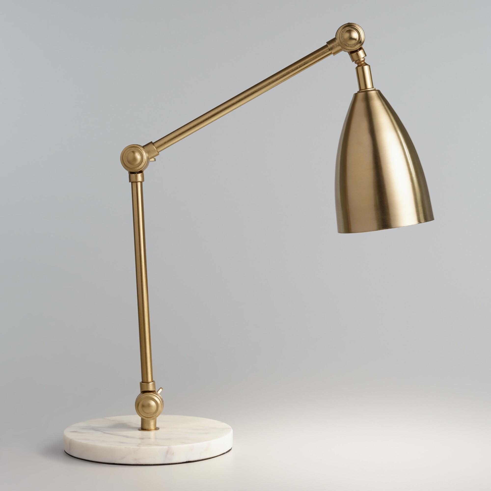 Gold Adjustable Task Desk Lamp With Marble Base By World Market Cutelamps Schreibtischlampe Moderne Lampen Arbeitslampen