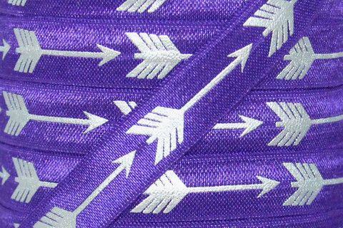 "Purple Grape/Silver Metallic Arrow Print 5/8"" Fold Over Elastic"