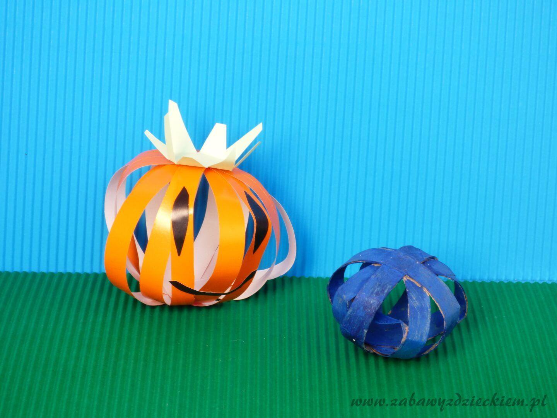 Halloweenowa dynia z papierowych pasków Dynia, Halloween