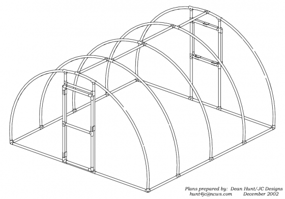 hoop house and high tunnel design ideas along with information on how to attach plastic sheeting