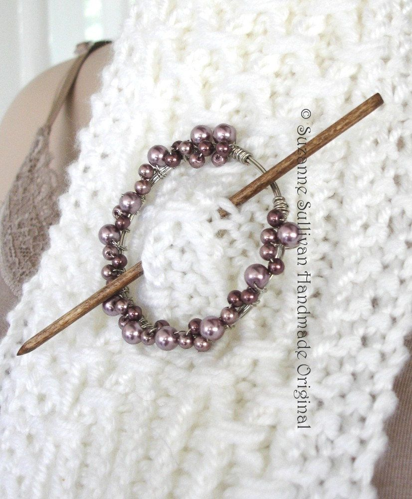 Beaded Hand Wrapped Copper Shawl Pin, Silver color wire.   Shawl ...