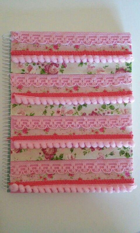 Cuaderno decorado con cintas - Celeste Garnero