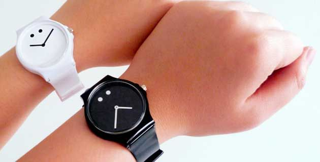 The face of Moody Watch features literally, a human face with two dots for eyes and hour/minute hands transforming into a smile or frown. [via]