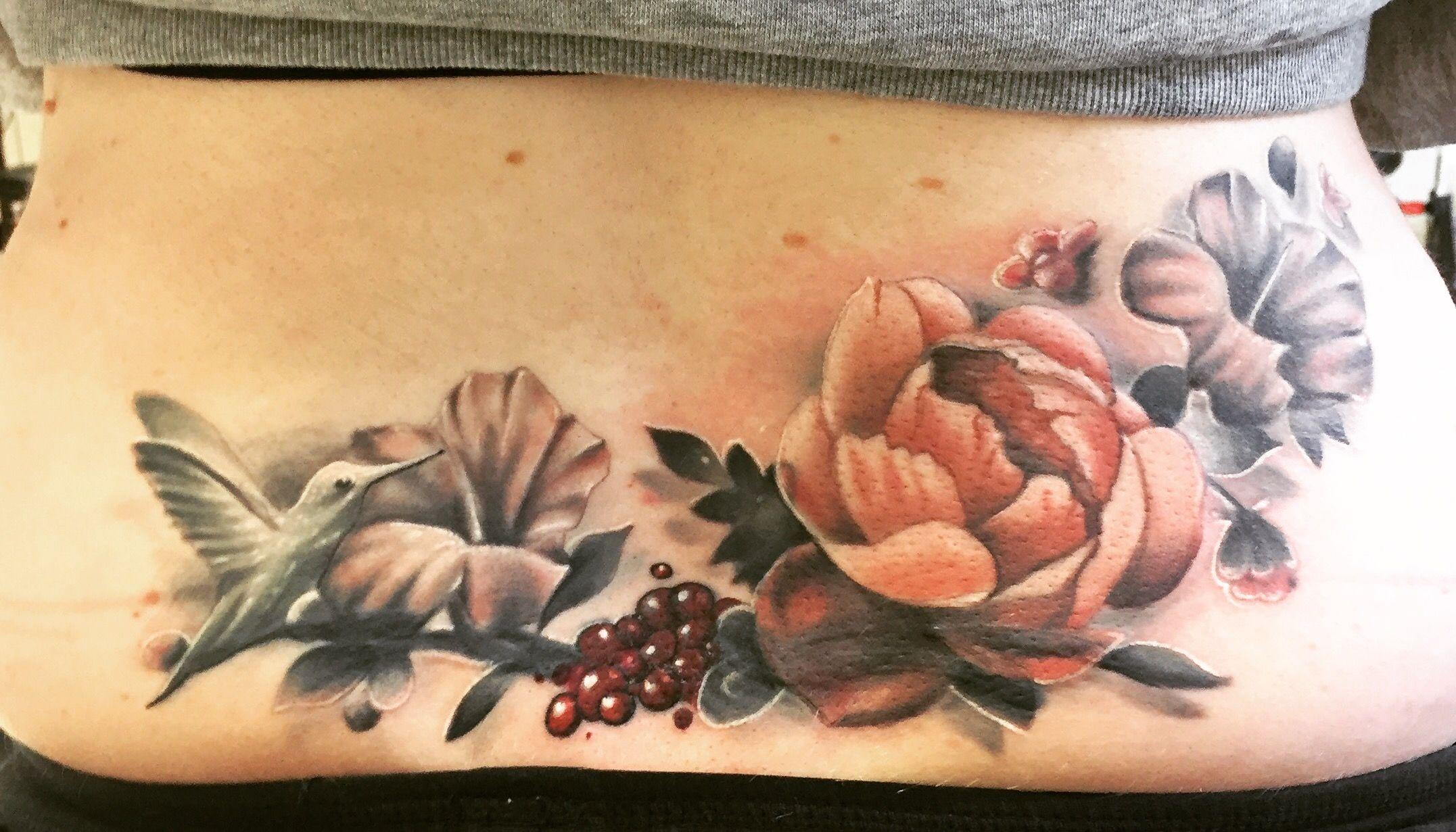 My New Tattoo Vintage Flower Bird Lower Back Coverup Lower Back Tattoos Back Tattoos Back Tattoo