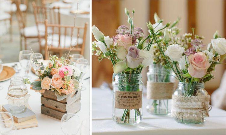 Decoraci n de bodas arreglos florales para centros de for Decoracion rustica para bodas
