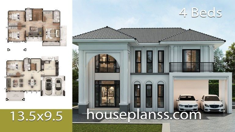 House Plans Design Idea 13 5x9 5 With 4 Bedrooms Home Ideas In 2020 Model House Plan 4 Bedroom House Plans Home Design Plans