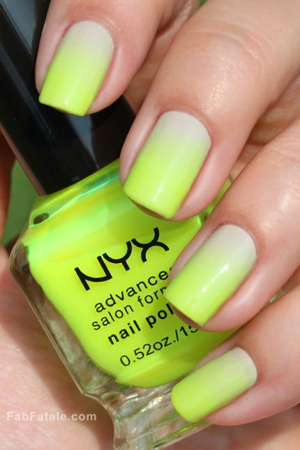 Neon green Ombre Nails