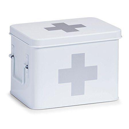 Zeller First Aid Box, Metal, White, 21.5 x 16 x 16 cm by Zeller