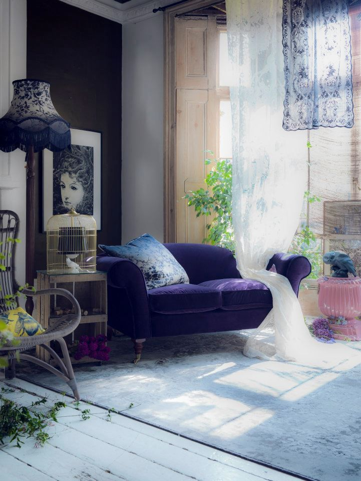 Midnight Garden Theme Shoot In The July 2012 Issue Of Livingetc Styling By Rebecca Mcevoy Interior Design Home Decor #purple #couches #living #room