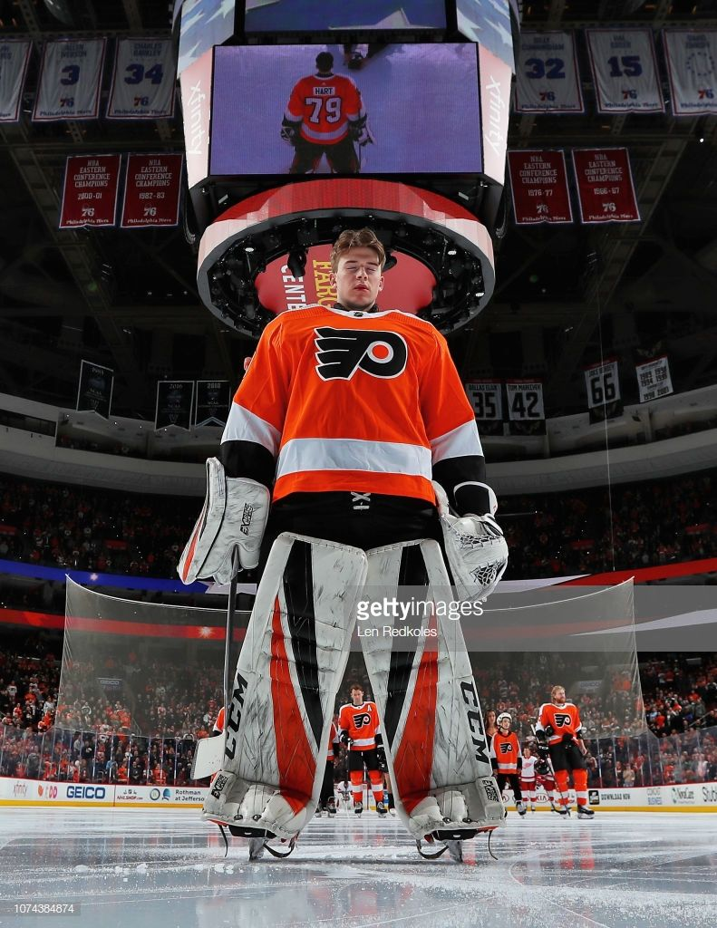 Carter Hart Of The Philadelphia Flyers Stands For The National Anthem Flyers Hockey Philadelphia Flyers Philadelphia Flyers Hockey