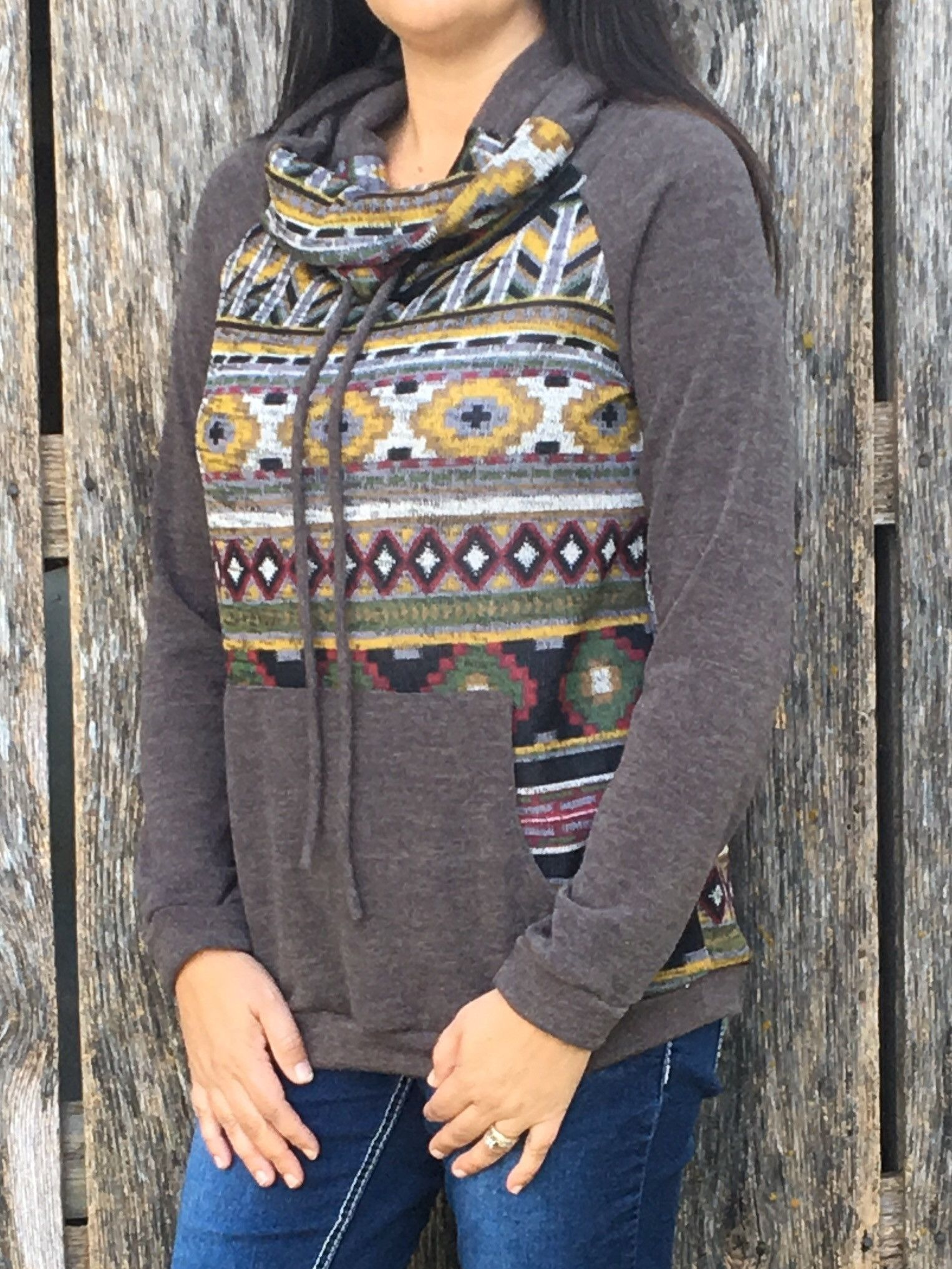 Women's Cowl Neck Front Pocket Sweater