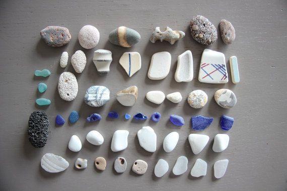 Lot bleu pierres cailloux 50 gris blanc transparent vrac galet zen ...