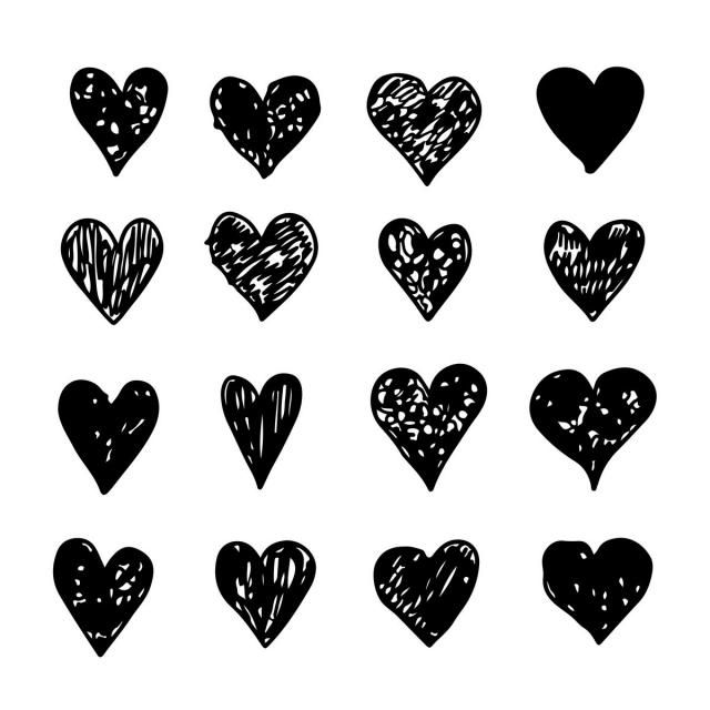 Hand Draw Heart Icon Card Cute Decor Png And Vector With