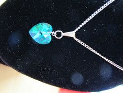 "New Listing Started New silvertone fine chain 16""long deep Turquoise heart shape crystal pendant £1.25"
