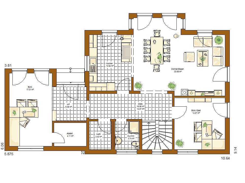 Musterhaus Orlando Grundriss Erdgeschoss Haus und