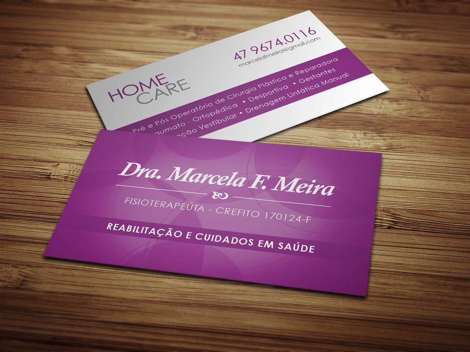 Cartão de visita para Dr.Marcela fisioterapeuta de Balneário Camboriú/SC.